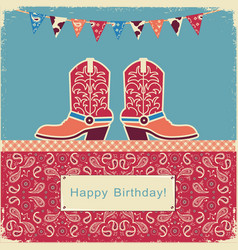 cowboy happy birthday with shoes on sweet cake vector image vector image