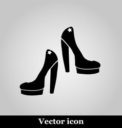 Female shoes icon on grey background vector image