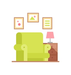 Flat armchair in colorful cartoon style vector image