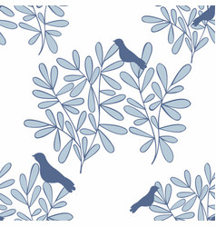 seamless background with branches and birds vector image