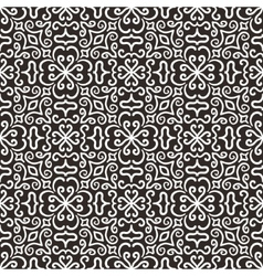 White graphic flower pattern on dark background vector image vector image