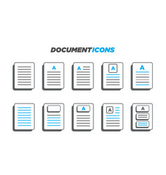 10 modern 3d styled document icons vector image