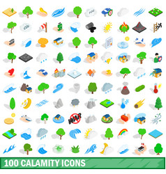 100 calamity icons set isometric 3d style vector image