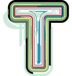 Abstract colorful letter t vector
