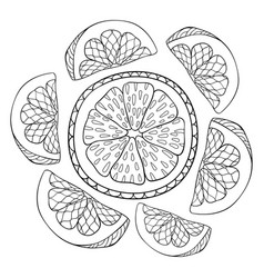 Adult coloring bookpage a cute crown of oranges vector