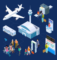Airport isometric concept passenger vector