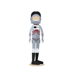 astronaut in space suit and helmet flat vector image