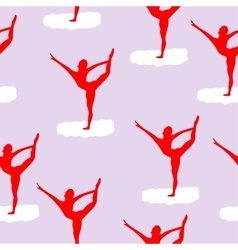 ballet dancer on white cloud pattern vector image