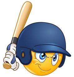 Baseball batter emoticon vector