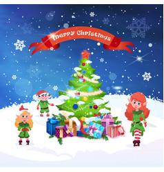 beautiful christmas greeting card fir tree and vector image