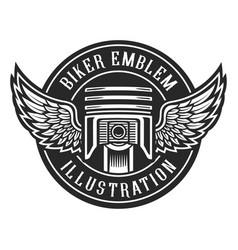 biker emblem vector image vector image