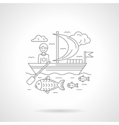 Boating detailed line vector image