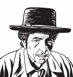 Bob Dylan Caricature Portrait Hand Drawing vector