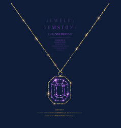 Bright poster with a precious pendant with a chain vector