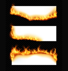 Burning paper banners realistic set vector