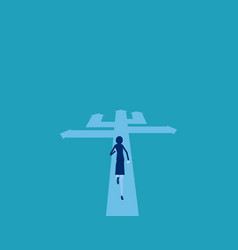 businesswoman choosing way direction way to vector image