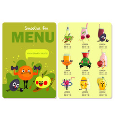 cartoon funny fruits menu vector image