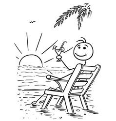 Cartoon stick man relaxing sitting on the beach vector