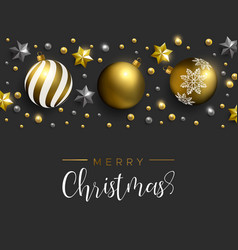 Christmas gold decoration layout greeting card vector