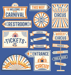 Circus labels carnival show banner vintage label vector