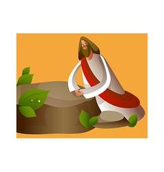 Close-up jesus christ sitting stone vector