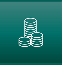Coins stack money stacked coins icon in flat vector