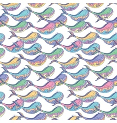 Colorful whale pattern vector image