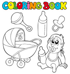 Coloring book baby collection vector