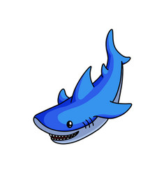 cute blue shark swimming to find some fish food vector image