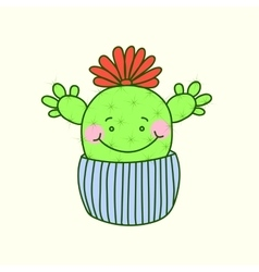 Cute cactus funny cartoon Print vector image
