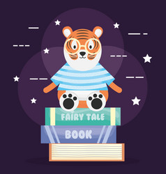 Cute tiger with pile books character vector