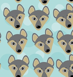 Dog Wolf Seamless pattern with funny cute animal vector