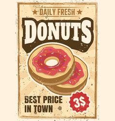 donuts colored vintage advertising poster vector image
