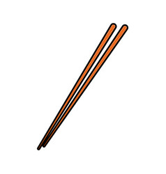 Drawing stick wooden food japanese utensil vector