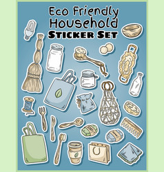 Eco friendly household stickers set ecological vector