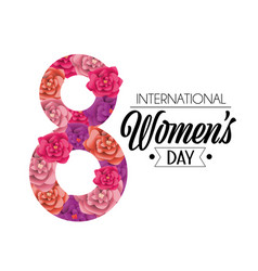 eight with roses to womens day event celebration vector image