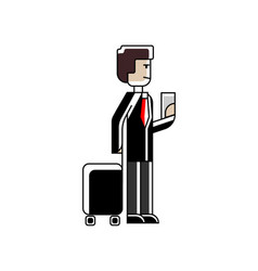 european man with travel bag and ticket in hands vector image