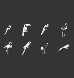Exotic birds icon set grey vector