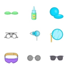 Eye exam icons set cartoon style vector image
