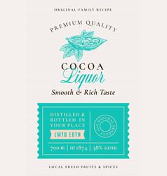 Family recipe cocoa beans liquor acohol label vector
