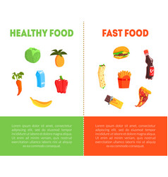 Food choice healthy and junk food banner template vector