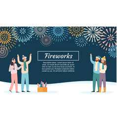 Friends launching fireworks group people vector