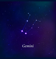 Gemini sign stars map zodiac constellation on vector
