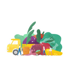 giant fruits and vegetables truck and group of vector image