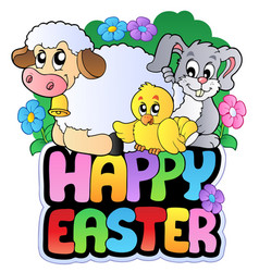happy easter sign with animals vector image