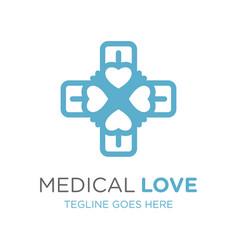 health symbol logo love design vector image