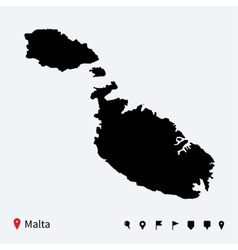 High detailed map malta with navigation pins vector