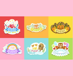 holiday stickers set colorful prints for cards vector image