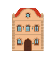 House flat style old european building colored vector