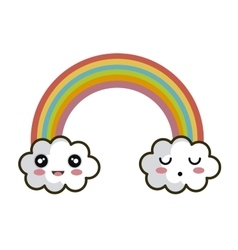 icon rainbow cloud faces design vector image